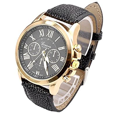 Amazon.com: Geneva Watches Women Casual Roman Numeral Watch Men Women PU Leather Band Quartz Wrist Watch Relogio Clock Black: Jewelry