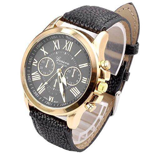 QinMM Reloj de pulsera de cuarzo con esfera de acero inoxidable para mujer (Negro)