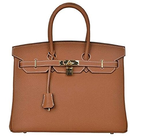 Decahome Women's Classic Genuine Leather Padlock Handbags With Gold Hardware (35CM Brown With Stitched White)