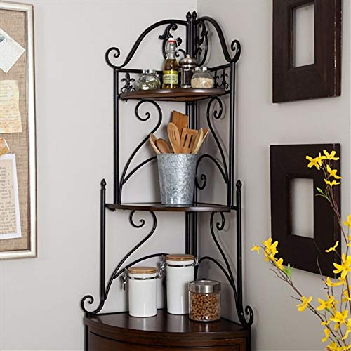 r Bakers Rack with Wrought Iron Frame and Wood Storage Shelves Corner Rack Bakers Shelf Metal Baker Stand S Plant Iron Rustic Shelves ()