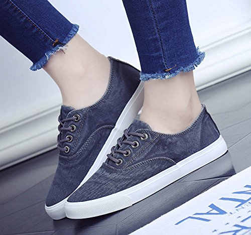 Aisun Women's Vintage Casual Round Toe Round Toe Platform Lace Up Flats Sneakers Canvas Shoes Gray seObD