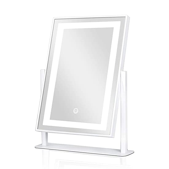 ANDY STAR Vanity Mirror with Lights, Lighted Makeup Mirror Modern Matte White with 2 Color Lighting, Rotating Metal Frame Mirrors for Makeup Room, Dressing Room and Bedroom
