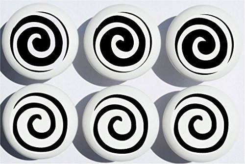 Black Swirly Spiral Polka Dot Drawer Knobs/Whimsical Swirls Ceramic Cabinet Pulls for Nursery or Children