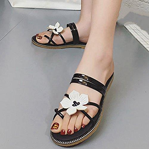 Cybling Mode Zomer Bohemien Platte Slippers Sandalen Voor Vrouwen Bloemen Strappy Strandschoenen Zwart