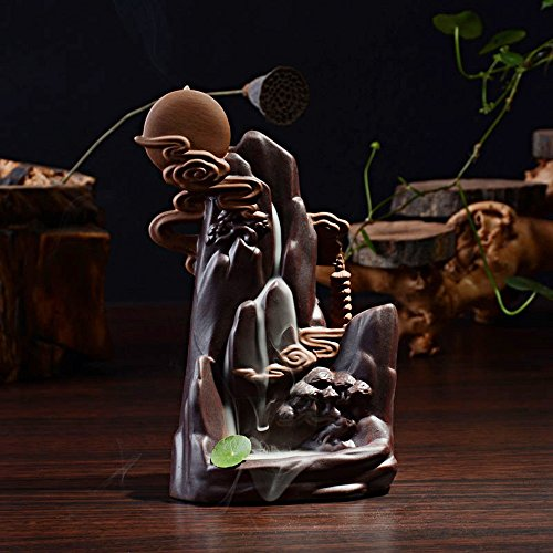 Tongyou Ceramic Waterfall Backflow Incense Burner Incenser Holder Home Decor Aromatherapy Ornament+ 10 Cone Incense Free ()