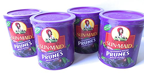 Sun Maid Pitted Prunes - 4 16 oz Canisters of Delicious Dried Prunes - GREAT VALUE by SunMaid