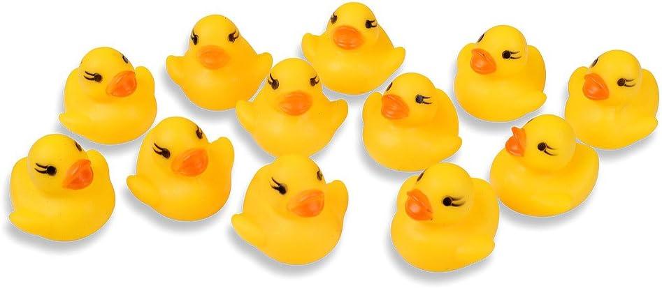 Schramm/® 48er Pack Gummiente Quietsche Ente gelb ca 3,5 cm Quietscheente Badeente Bade Ente Enten Badeenten Gummienten