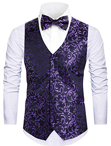 Purple Tweed - Cyparissus Mens Vest Waistcoat Men's Suit Dress Vest for Men or Tuxedo Vest