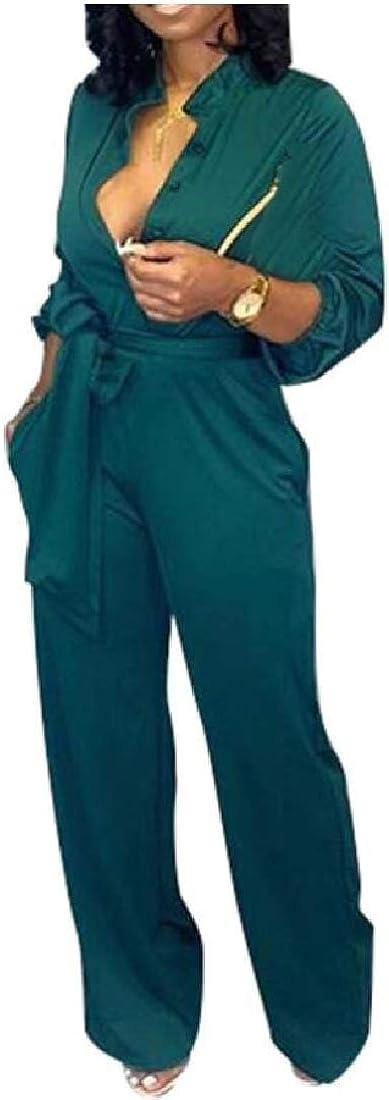 Qiangjinjiu Women V Neck Long Sleeve Wide Leg Pants Jumpsuits Romper with Pockets Buttons