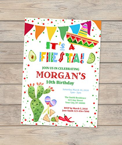 Amazon Fiesta Birthday Invitation Custom Mexican Theme