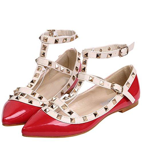 da alla scarpa borchie donna caviglia cinghia Rosso Ochenta basse 5dA7YqYw