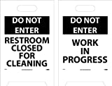 NMC FS22 Double Sided Floor Sign, ''DO NOT ENTER RESTROOM CLOSED FOR CLEANING - WORK IN PROGRESS'', 12'' Width x 20'' Height, Corrugated Polyethylene, Black on White