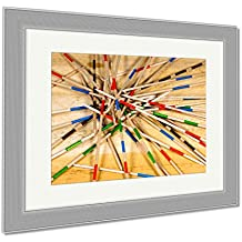 Ashley Framed Prints Detail Of Wooden Sticks Of The Game Of Mikado Or Shanghai On A Wooden Table, Wall Art Home Decoration, Color, 26x30 (frame size), Silver Frame, AG5897836