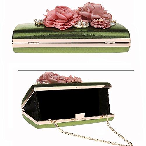 KAXIDY élégantes Vert Embrayage Sac soirée Pochette Mariage Fleurs de Pochette rZq5Cwr