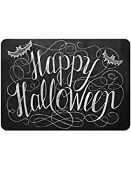 the softer side by weather guard 23 inch x 36 inch happy halloween kitchen mat in blackwhite