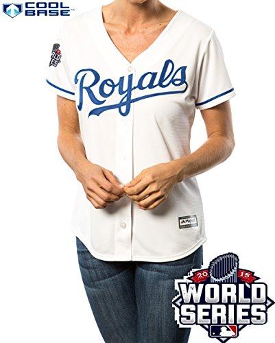 Eric Hosmer Kansas City Royals #35 MLB Women's Cool Base 2015 World Series Home Jersey (XXlarge)