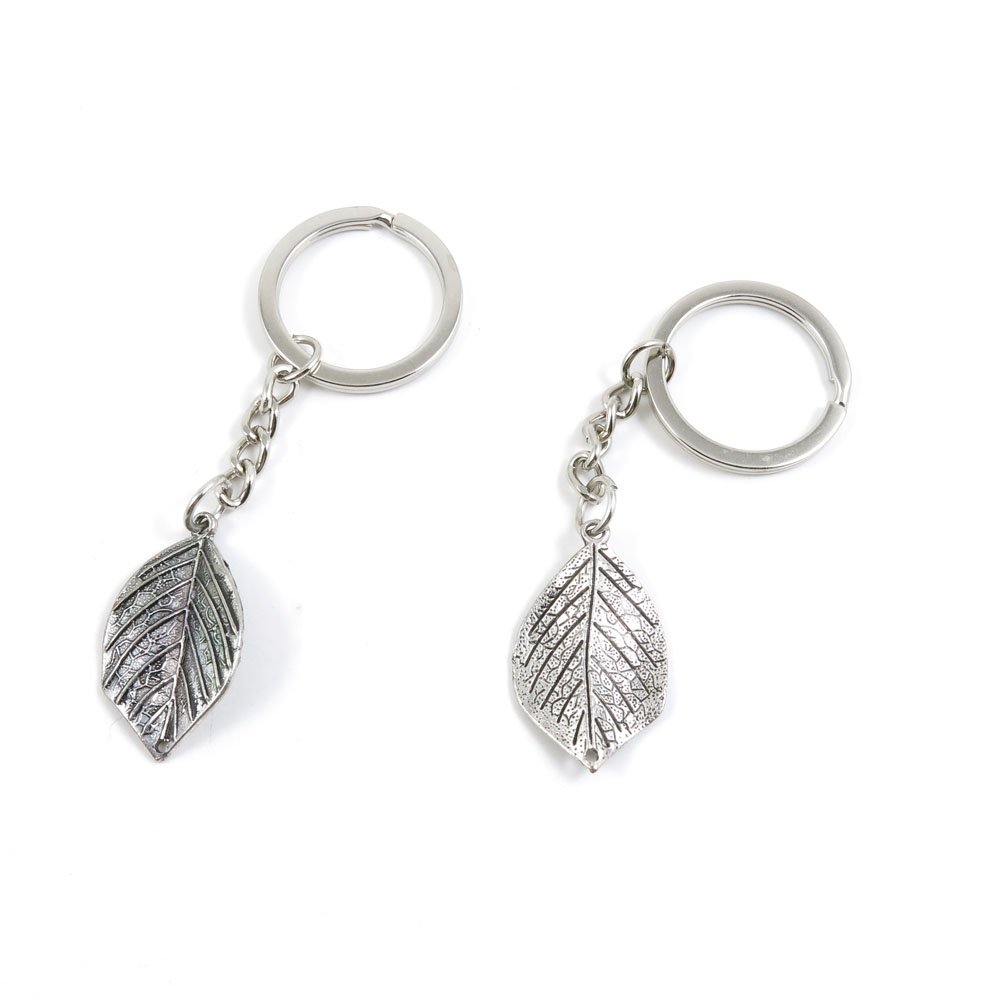 100 Pieces Keychain Door Car Key Chain Tags Keyring Ring Chain Keychain Supplies Antique Silver Tone Wholesale Bulk Lots S5OP1 Leaf Leaves