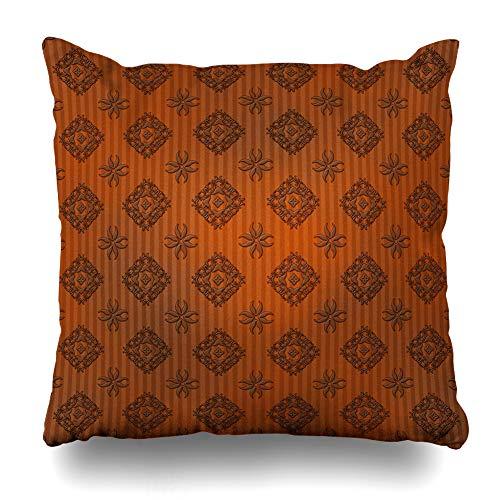 Ahawoso Throw Pillow Cover Floral Orange Antique Damask Stripe Abstract Burnt Brown Autumn Black Cinnamon Classical Design Grey Decorative Pillow Case 20x20 Inches Square Home Decor Pillowcase