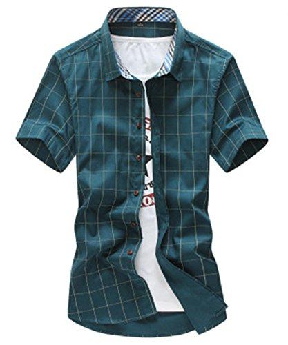 [スゴフィ]SGFY  メンズ ポロシャツ チェック柄 カジュアル シャツ ゴルフ ウェア (2XL, ダークグリーン)