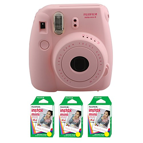 Fujifilm FU64-MIN8PK60 INSTAX MINI 8 Camera and Film Kit for 60 Exposures (Pink) by Fujifilm