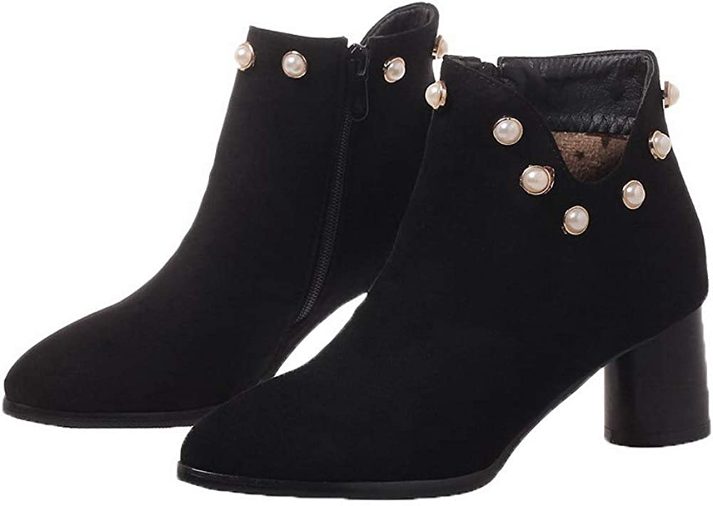 AllhqFashion Womens Pointed-Toe Kitten-Heels Solid Imitated Suede Boots FBUXD133202