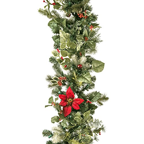 9 ft. Artificial Pre Lit LED Decorated Christmas Garland-Poinsettia flower decorations-100 super mini LED warm clear colored lights with timer and battery pack for indoor and outdoor use by Village Lighting (Image #1)