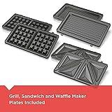 Black+Decker 3-in-1 WM2000SD 3-in-1 Waffle, Grill & Sandwich Maker, Compact Design, Black/Silver