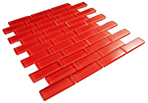 Glossy Red Subway Glass Mosaic Tiles for Bathroom and Kitchen Walls Kitchen Backsplashes By Vogue Tile