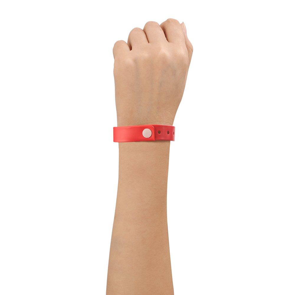 Ouchan Plastic Event Wristbands Red - 100 Pack Vinyl Wristbands for Parties by OUCHAN (Image #4)