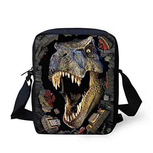 Showudesigns Fashion Kids Dinosaur Messenger Bag for Mini Ipad with inner Pocket