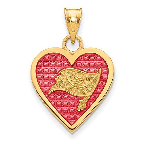 Sterling Silver GP Tampa Bay Buccaneers Enameled Heart Pendant