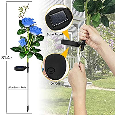 Solar Garden Lights, Outdoor Solar Stake Lights, LEMBO DIRECT Upgraded 2 Pack Outdoor Waterproof LED Solar Powered Flower Stake Landscape Decor Lights 6 Roses for Garden, Patio, Yard, Lawn (Blue)