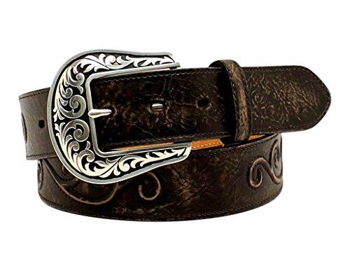Nocona Round Boots - Nocona Women's Raised Scroll Design Belt, Black, M