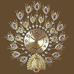 SE7VEN The peacock clock,Wall clocks large decorative European style Living rooms Clocks Household Silent Quartz Large wall clock-D 57x63cm(22x25inch)