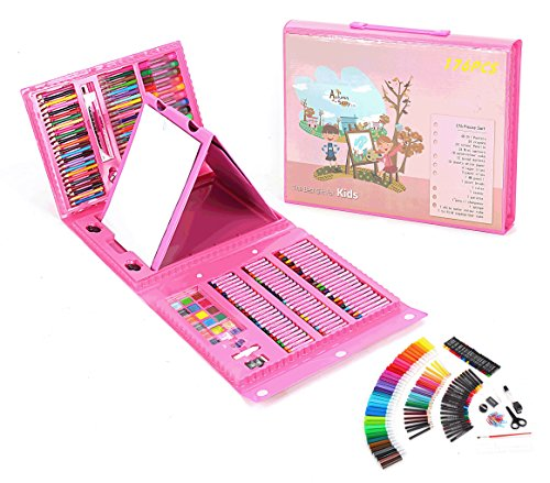 THESIMPLE - 176 Pieces Easel Supplies for Kids Art Supplies Set Deluxe Art Set Drawing And painting Double Sided Trifold Easel Art Set-Best Gift For Kids (Pink - Local Nearest Shop