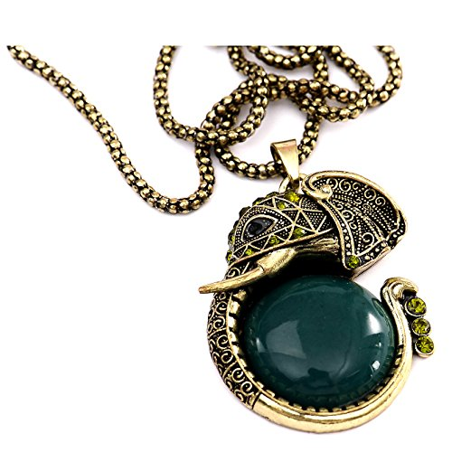 Retro Fashion Bronze Pearl Peacock Elephant Carp Heart Shaped Retro Necklace Chain Elephant Darkgreen with Gift Box