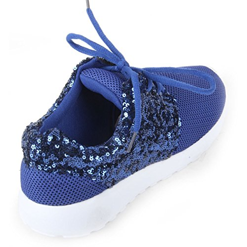 Gym 1990 Light Ladies Glitter Shoe Sneakers Sequin Sport Trainer Running Blue Pump Girls London Women rqUOFxwnvr