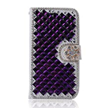 Galaxy S5 Active Case,Gift_Source [Card Slot] [Kickstand] 3D Bling Crystal Handmade Diamond Leather Wallet Magnet Flip Folio Case for Samsung Galaxy S5 Active G870 [Purple]