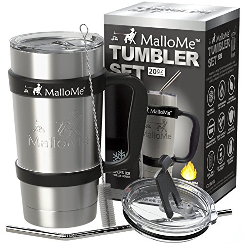 Travel Coffee Cup Mug Tumbler – 20 oz – Stainless Steel Vacuum Insulated Mug 6-Piece Set – Includes 2 Lids, Straw, Brush, Handle
