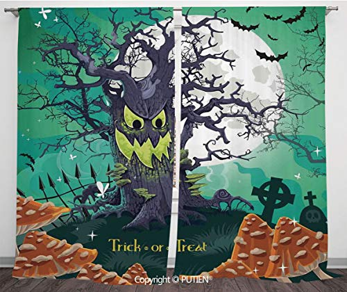 Satin Window Drapes Curtains [ Halloween Decorations,Trick or Treat Dead Forest with Spooky Tree Graves Big Kids Cartoon Art,Multi ] Window Curtain Window Drapes for Living Room Bedroom Dorm Room -