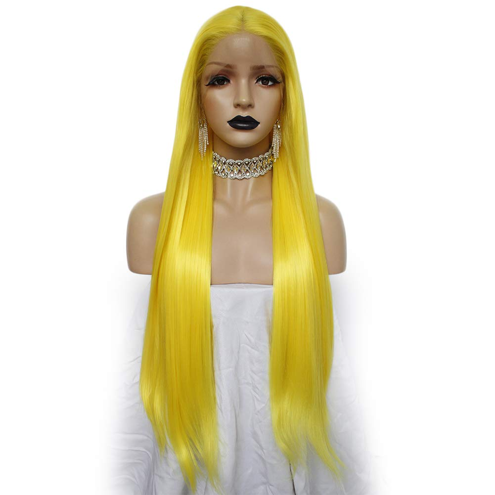 Anogol Hair Cap+Yellow Lace Front Wig for