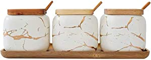 Vencer 12OZ Set of 3 White Marble Sugar Bowl with Lid and Sugar Serving Spoon,Wooden Tray,Sugar Holder for Sugar,Serving,Tea, Coffee, Spice, Salt