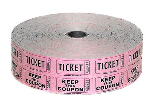 Raffle Roll Tickets, Double W/Coupon (1 Roll. assorted colors), 2000 Tickets Per Roll