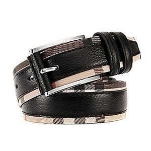 Also Easy Spring Fashion Genuine Leather Patchwork Plaid Belts Women Men British Brand Original Waist Strap Accessories Orange 110cm