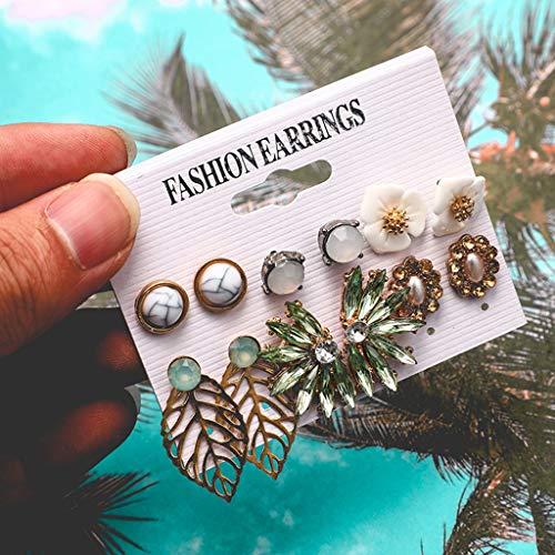 [Mollikar] Women Fashion Creative Geometric Irregular Leaf Flower Earrings 6 Piece Set
