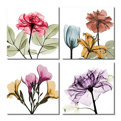 Picabala French Country Canvas Prints Flickering Abstract Flower Printed Wall Art Elegant Modern Framed Picture Multi Color Photo Giclee Print on Canvas Artworks for Home Office Decoration 12x12in-D