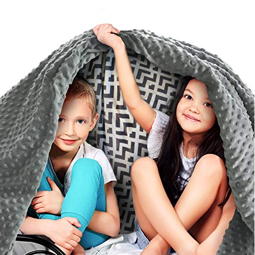 Quility Premium Kids Weighted Blanket & Removable Cover | 10 lbs | 41″x60″ | for a Child Between 90-120 lbs | Single Size Bed | Premium Glass Beads | Cotton/Minky | Grey/Chevron Print