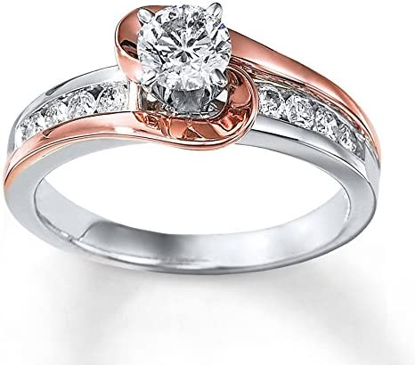 1 Carat Unique Round Two Tone White And Rose Gold Engagement Ring Gemscove Amazon Co Uk Jewellery