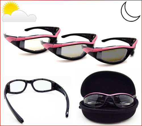 Pink Frame Light Adjusting Motorcycle Sunglasses Foam Padded for Women with Clear Photochromic Polycarbonate Lenses. Free Hard Case. - Motorcycle Glasses Light Adjusting