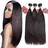 Moda Mode Brazilian Hair Straight 3 Bundles, Unprocessed Virgin Human Hair Extensions Wave Natural Color (20 22 24)